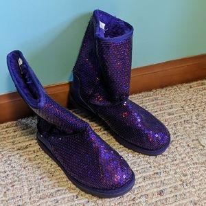 GUC purple sequin boots